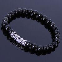 Men's Women 6mm Black Obsidian Bracelet 925 Sterling Silver Dragon Charm 276