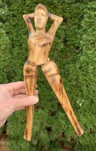 "Vintage Hand Carved Wooden Naked Nude Woman Lady Nutcracker Folk Art Carving 13"""