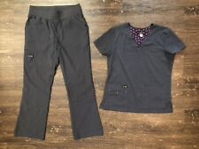 Pre-owned Gray Scrubs Set With Small Top & Small Petite Pants