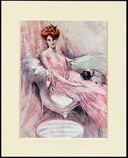 PUG LITTLE DOG AND LADY IN PINK LOVELY PRINT MOUNTED READY TO FRAME