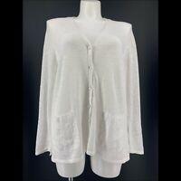 Pure J Jill Sweater Long Sleeve Cardigan White Pockets Linen Blend Size XL
