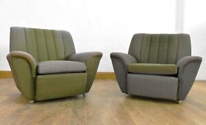 Vintage retro pair of relaxer lounge armchairs