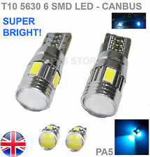 2x T10 6-SMD 5630 LED ICE BLUE 501 W5W CANBUS SIDE REVERSE LIGHTS BULBS 8000K