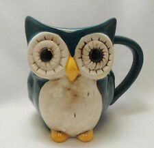 Adorable Owl Coffee Mug Cup 16 oz Figural 3-D Green Hand Painted Cute New