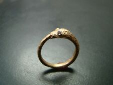 Very Unique and detailed 14k gold snake ring with genuine diamond eyes