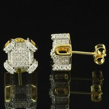 Iced Out Earrings Custom 14k Gold Finish Simulated Diamonds Sterling Silver 10mm
