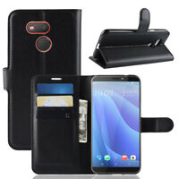 For HTC Desire 12S, Classic Flip Leather Wallet Stand Case Soft TPU Card Cover