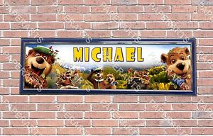 Personalized Customized Yogi Bear Name Banner Wall Decor Poster with Frame