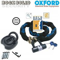 MOTORCYCLE BIKE CHAIN LOCK 2M LENGTH OXFORD SOLD SECURE ANTI THEFT GROUND ANCHOR