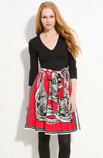 $275 DKNY Solid Top Lacquer Scarf Print Silk Skirt Mock Two Piece Dress L