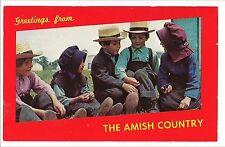 Children AMISH COUNTRY Pennsylvania PA DUTCH  Postcard Vintage Plain Dress