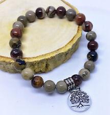 Ladies Natural Jasper Stone Beaded Yoga Gemstone Crystal Bracelet for Women UK