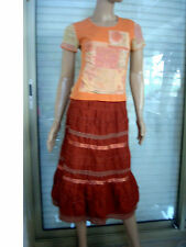 JUPE ORANGE CUIVRE A VOLANTS TAILLE ELASTIQUEE + TOP ARMAND THIERY  T 36/38/40