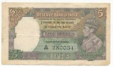 1943 INDIA FIVE RUPEES-5 RUPEES NOTE-CIRCULATED-DESIRABLE NOTE-SHIPS FREE!