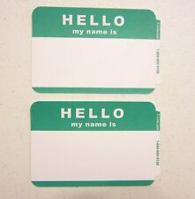 """10 GREEN """"HELLO MY NAME IS"""" STICKERS LABELS ID NAME BADGES HELLO NAME TAG"""