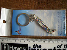 RARE VINTAGE BANGKOK AIRWAYS AIRPLANE SHAPE METAL KEYRING NEW IN PACKET a1u