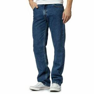 Mens Black Blue Denim Jeans Classic Straight Leg Plain Denim Jeans All Sizes
