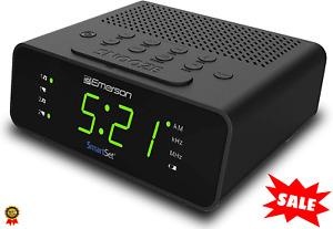 "Emerson SmartSet Digital Alarm Clock Radio w/AM/FM 0.9"" LED Large Display Snooze"