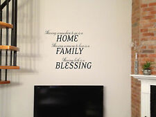 "30"" FAMILY HOME BLESSING QUOTES VINYL DECAL STICKER WALL ART RN"