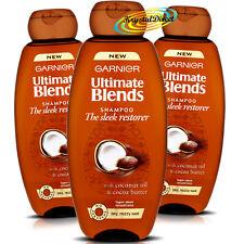 3x Garnier Ultimate Blends Sleek Restorer Coconut Oil Cocoa Butter Shampoo 400ml