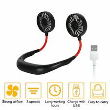 Fan Usb Rechargeable Neckband Dual Cooling Mini Fan Lazy Neck Hanging Style