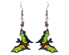 Mia Jewel Shop Handmade Spooky Halloween Bat Dangle Earrings Lime Green
