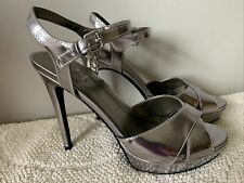 GUESS SILVER HIGH HEEL  SANDALS WORN ONCE Size 5.5 Uk, EUR 38.5