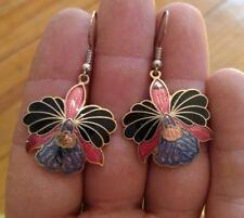 Stunning vintage Asian enamel Cloisonne Flower Earrings lotus