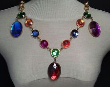 Unsigned Designer Vintage Lucite Belt Necklace Gold Tone Multi Cab Bold Jewelry