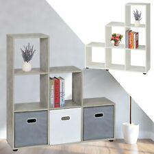 Treppenregal 6 Fächer Weiß/Beton Raumteiler Stufenregal Bücherregal Treppe Regal