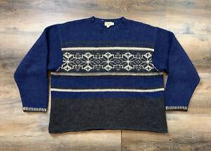 Vintage J. Crew Mens XL Oversized Sweater Wool Fair Isle Nordic Holiday