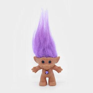 "ACE NOVELTY 3"" Treasure Troll Doll - Purple Hair & Gem - No Clothes / Naked"