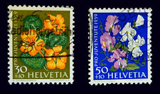 Switzerland Stamps 1959  Flowers     Set of 2 Stamps    Used