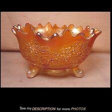 "Antique Fenton Marigold 10"" Footed Fruit Bowl Orange Tree Pattern"