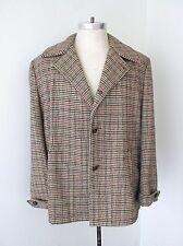 VGC Vtg 70s Gold Red Black Houndstooth Wool Tweed Coat Jacket Cuff Epaulets 44