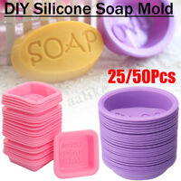 25/50Pcs DIY Handmade Silicone Soap Mold Square Oval Making Baking Cupcake