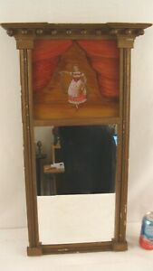 Antique 1830 Federal Gilt Wood Reverese Painted Woman Wall Mirror