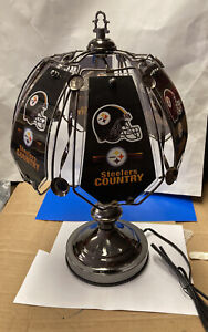 """Pittsburgh Steelers 3 Way Touch Lamp Table Lamp 14 1/4"""" Tall 6 Glass Panels  New"""