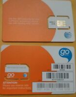 NEW AT&T SIM CARD 3G/4G PREPAID GO PHONE 3G READY TO ACTIVATE STANDARD SIZE