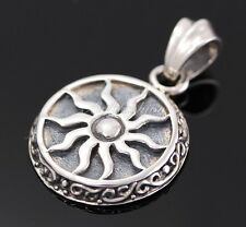 Men Sterling Silver Solid Sun Solar Pendant Gothic Jewelry Celtic Rider Hip Hop