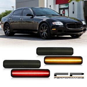 For Maserati Quattroporte 2004-2009 4pcs Smoked Lens LED Side Marker Light Set