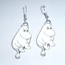 Kitsch Kawaii Enamel Moomin Troll Moomin White Glitter Charm Earrings