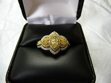 18K yellow and white gold set with fancy yellow diamonds