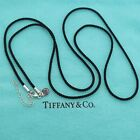 Tiffany & Co. Black Twist Silk Cord with Sterling Silver Tip Chain 26' Inch