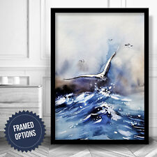 ABSTRACT Ocean Gull Painting Gallery Wall Art PRINT Navy Blue Poster Box Framed