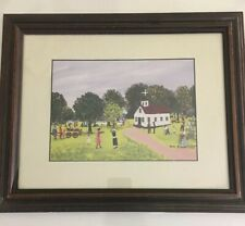 Ruth Russell Williams 1994 Print, Framed and Matted Picture Of Church In Sunday