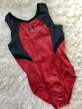Under Armour Gk Elite gymnastics Usa Leotard Red Black Gray Mesh Sporty Sz: Cl