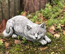 Steinfigur grosse Katze liegend Frostfest Gartenfigur Steinguss wetterfest 32 cm