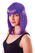 Ladies Shoulder Length Neon Purple Wig & Fringe Lady Gaga Cyber Fancy Dress