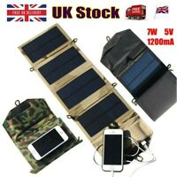 Portable Solar Charger For iPhone Phone 7W Solar Charging Panel + USB Port Camp